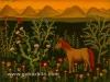 Josip Generalic, 1972, Horse in flower garden, oil on glass