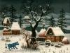Josip Generalic, 1972, Winter with blue animal, oil on glass