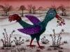 Josip Generalic, 1973, Blue bird on snow, oil on glass