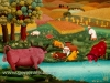 Josip Generalic, 1973, Landscape with cows, oil on glass, 100x160 cm