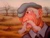 Josip Generalic, 1973, Old man, oil on glass