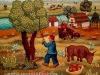 Josip Generalic, 1973, Picking cherries, oil on glass