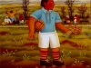 Josip Generalic, 1973, Soccer player with flowers, oil on glass