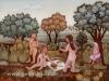 Josip Generalic, 1976, Naked women on meadow, oil on glass, 80x100 cm