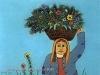 Josip Generalic, 1976, Woman with flowers, oil on glass