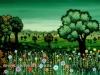 Josip Generalic, 1977, Flower meadow, oil on glass