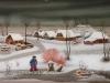 Josip Generalic, 1977, Lone ice-skater, oil on glass