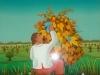 Josip Generalic, 1977, Man picking up grapes, oil on glass