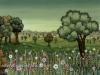 Josip Generalic, 1977, Meadow with flowers, oil on glass