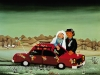 Josip Generalic, 1977, Newlyweds with red car, oil on glass