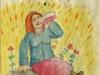 Josip Generalic, 1977, Woman drinking wine, waterolour sketch