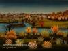 Josip Generalic, 1978, Landscape with river Drava, oil on glass, 35x47 cm