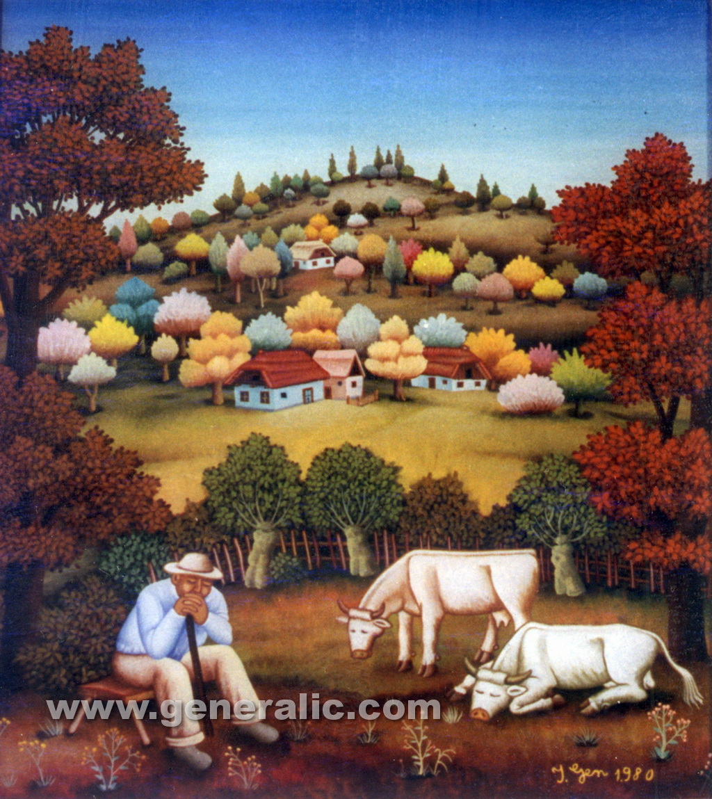 Ivan Generalic, 1980, Peasant with cows, oil on glass, 40x45 cm