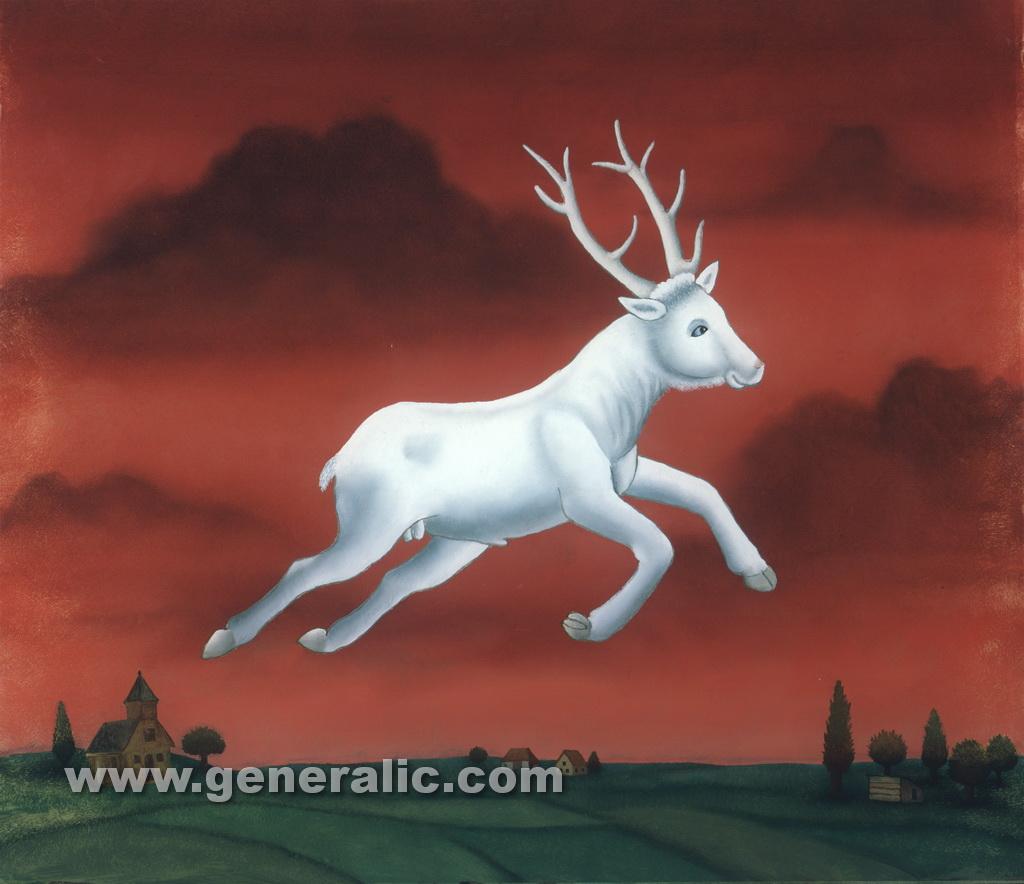 Ivan Generalic, 1985, A deer in the air, oil on glass