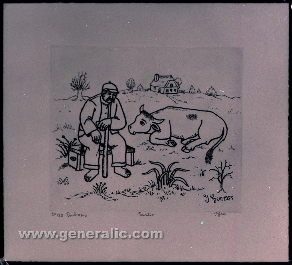 Ivan Generalic, 1985, Shepherd, etching