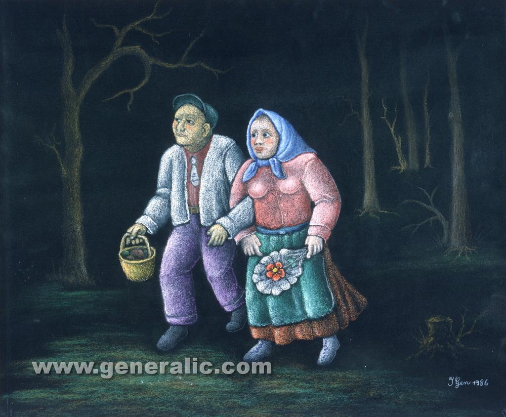 Ivan Generalic, 1986, Walking in the night, pastel