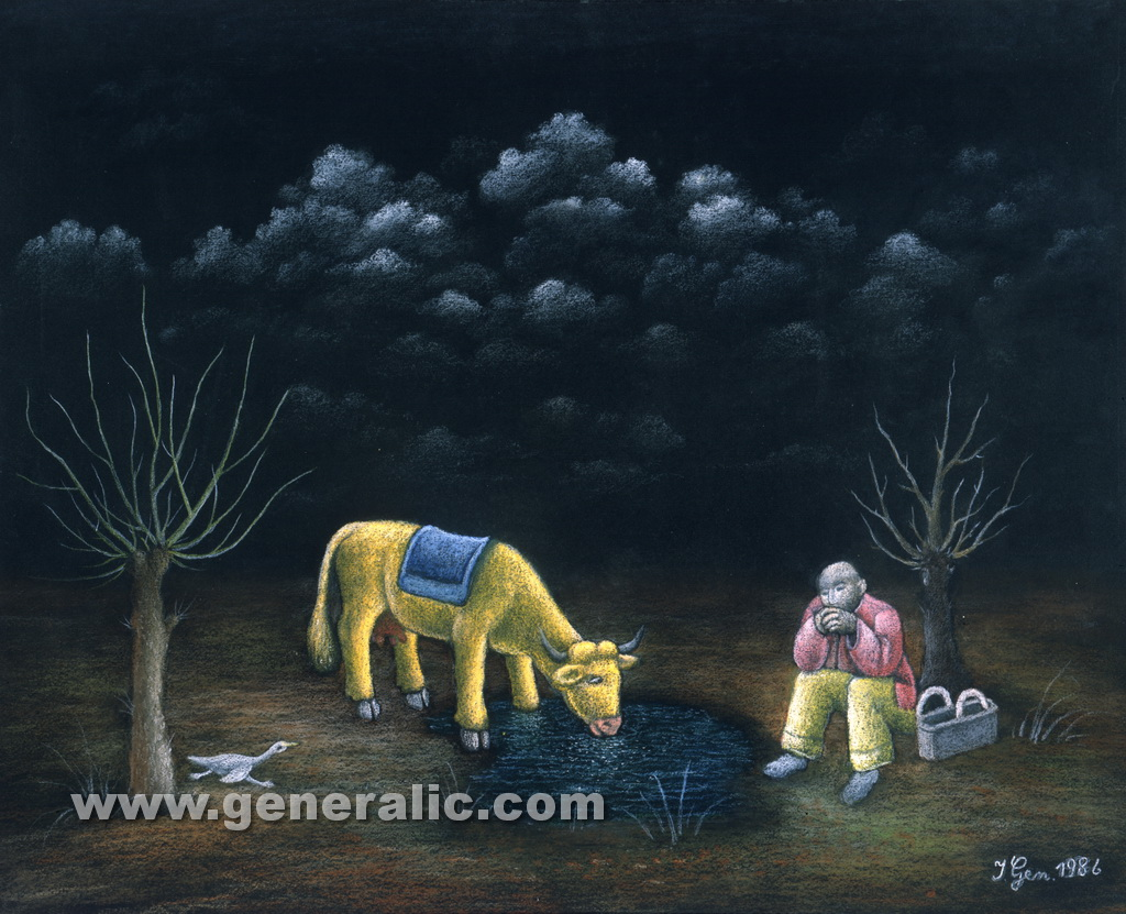 Ivan Generalic, 1986, Watching the cow, pastel