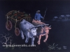 Ivan Generalic, 1981, Cows heaving pumpkins, pastel