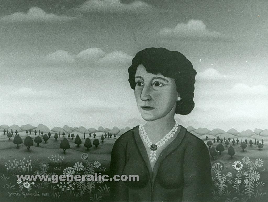 Josip Generalic, 1980, A portrait, oil on glass, 45x55 cm