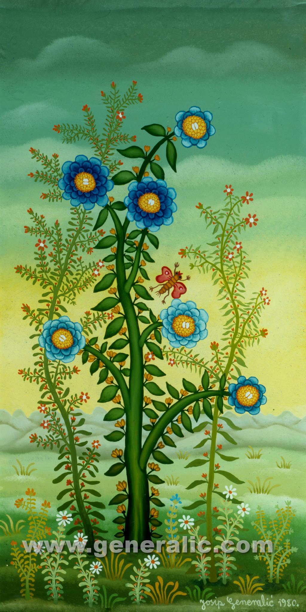 Josip Generalic, 1980, Blue flowers with butterfly, oil on glass, 50x25 cm