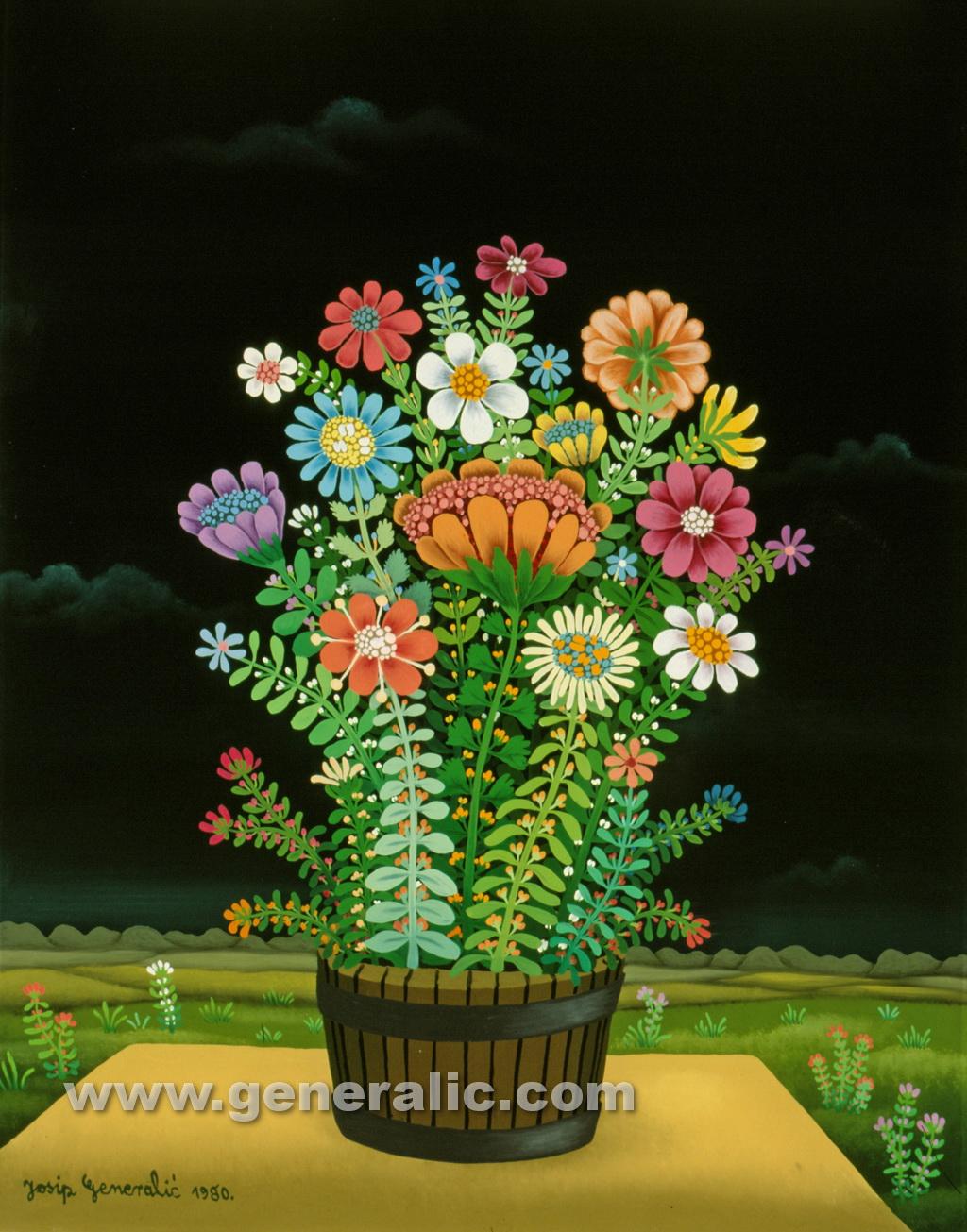 Josip Generalic, 1980, Flowers on a table, oil on glass