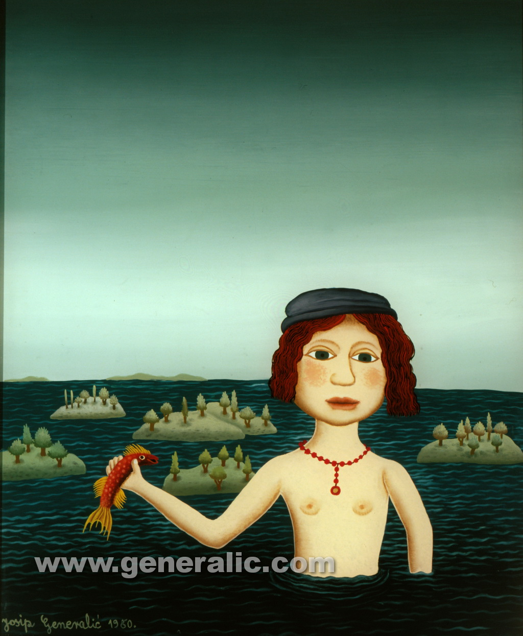 Josip Generalic, 1980, Girl with a fish, oil on glass, 39x32 cm