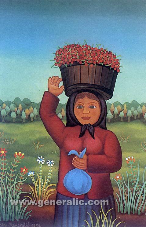 Josip Generalic, 1980, Girl with cherries, oil on glass