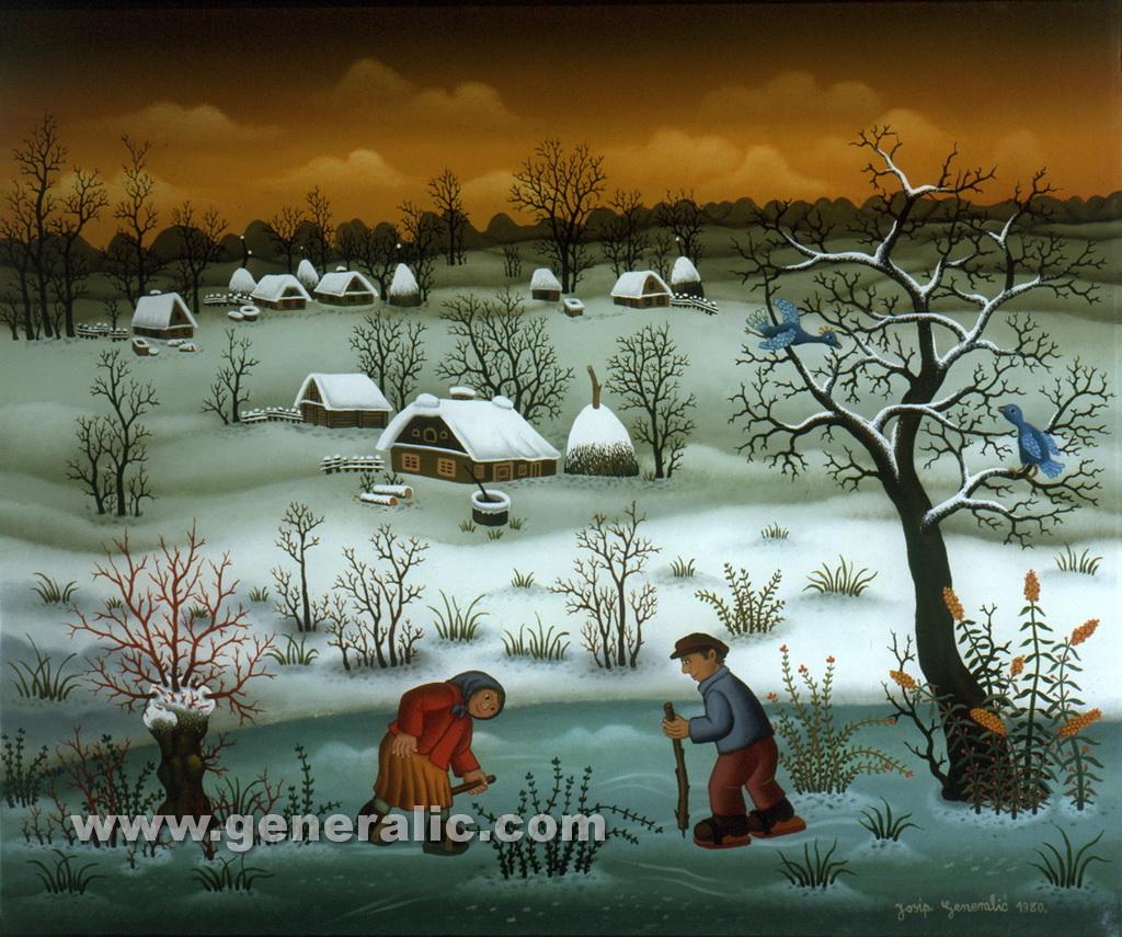 Josip Generalic, 1980, Little skaters, oil on glass, 51x61 cm