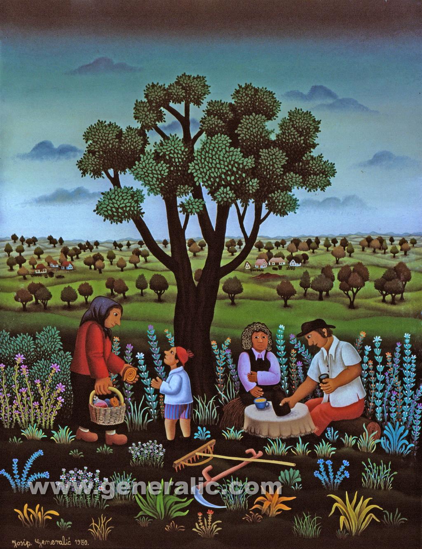 Josip Generalic, 1980, Resting under the tree, oil on glass, 60x80 cm