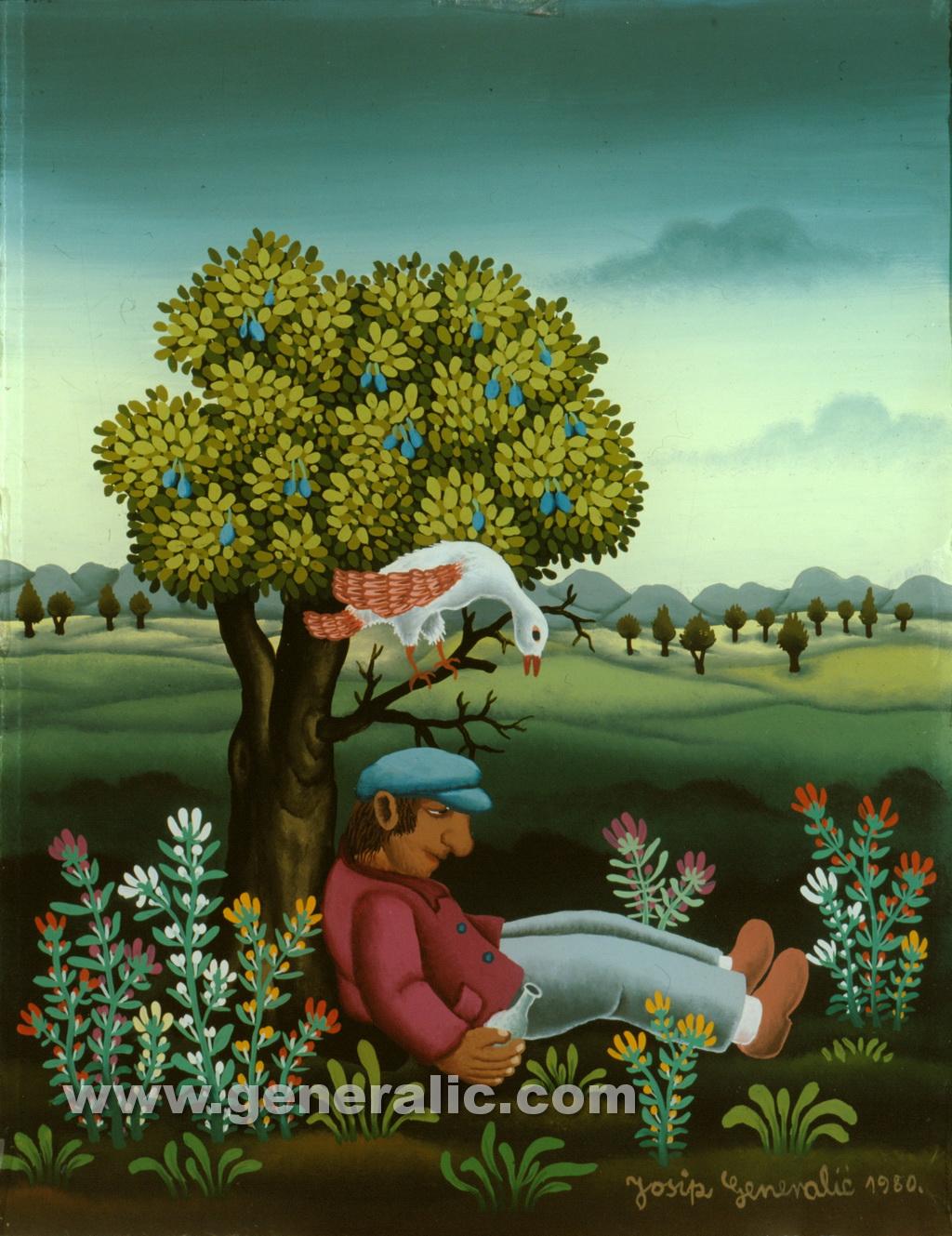 Josip Generalic, 1980, Sobering under a tree, oil on glass