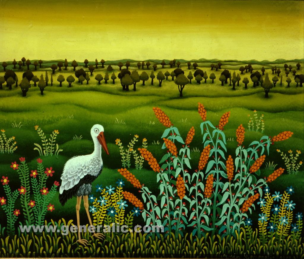 Josip Generalic, 1980, Stork on a meadow, oil on glass