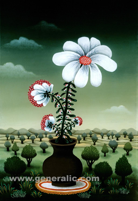 Josip Generalic, 1980, White flowers, oil on glass