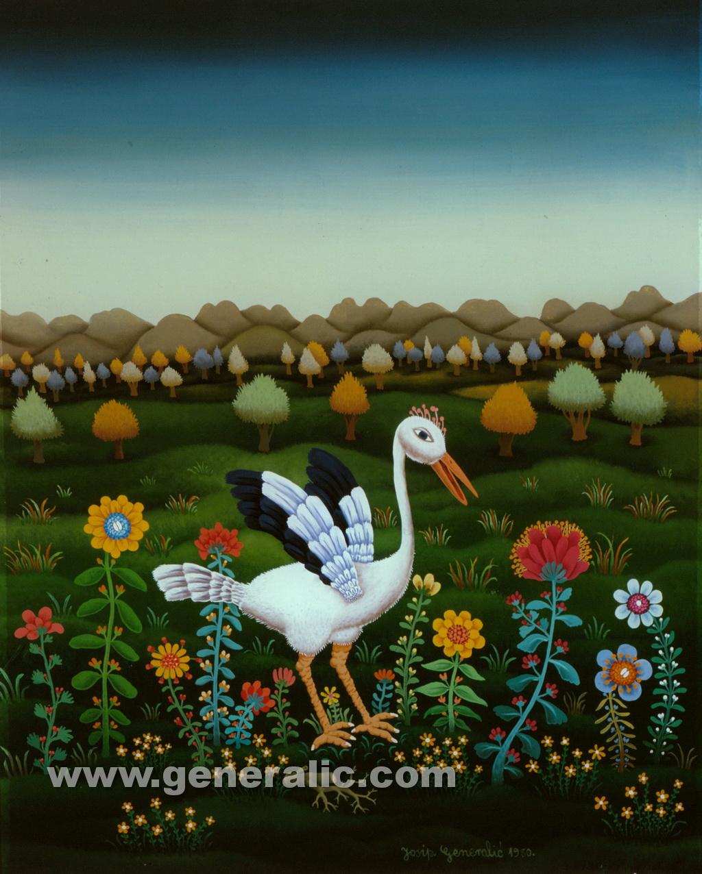 Josip Generalic, 1980, White stork, oil on glass