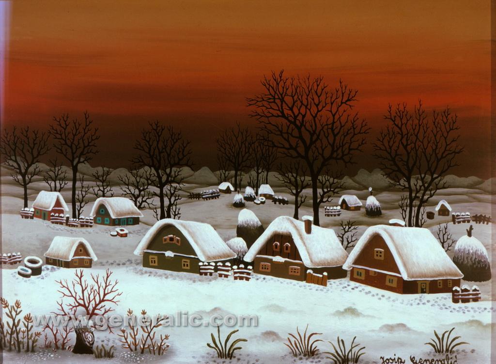 Josip Generalic, 1980, Winter in a village, oil on glass