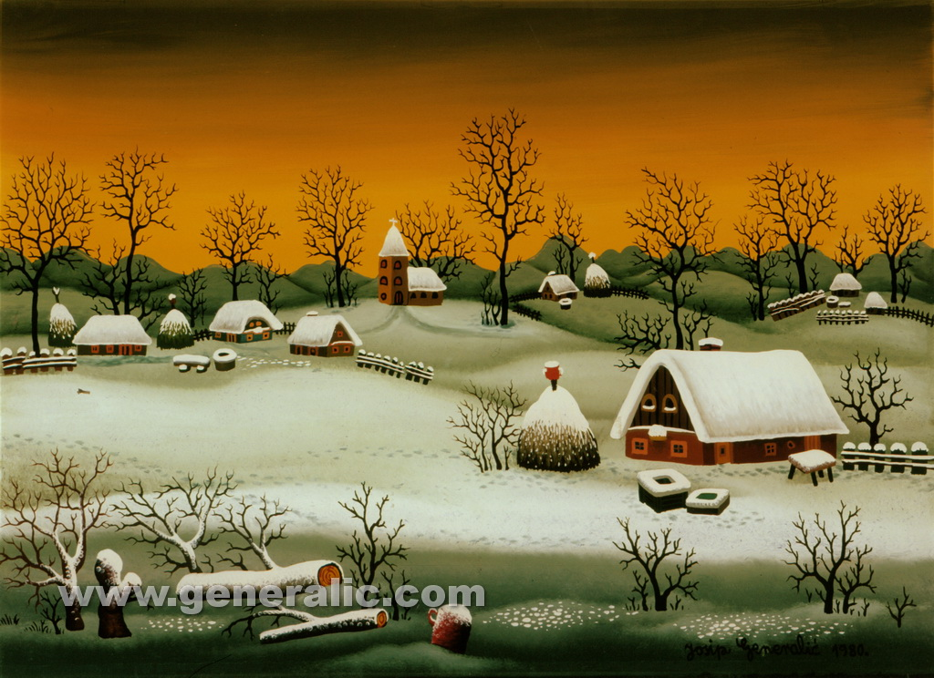 Josip Generalic, 1980, Winter in a village with church, oil on glass