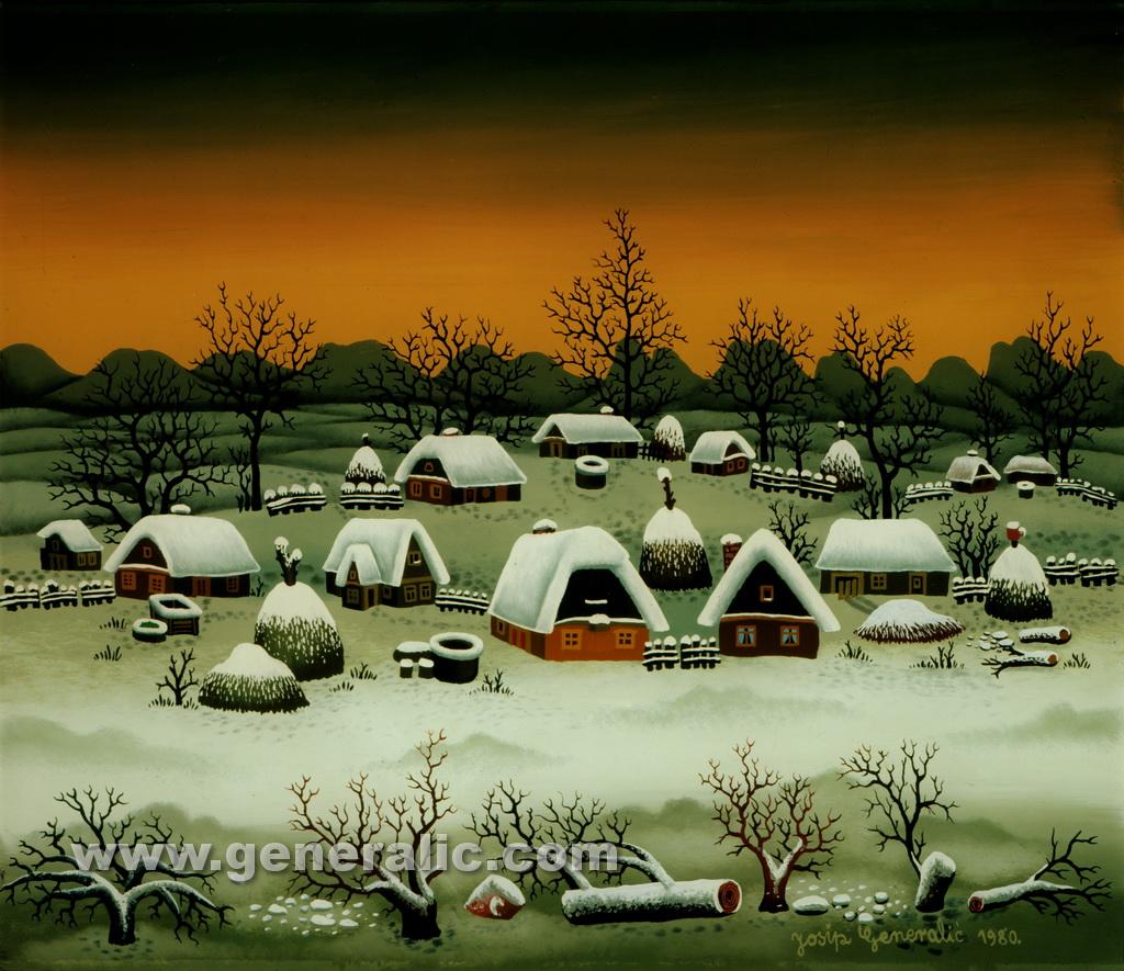 Josip Generalic, 1980, Winter in my village, oil on glass