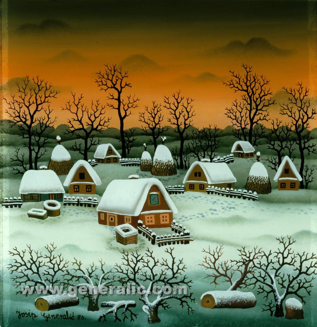 Josip Generalic, 1980, Winter in village, oil on glass