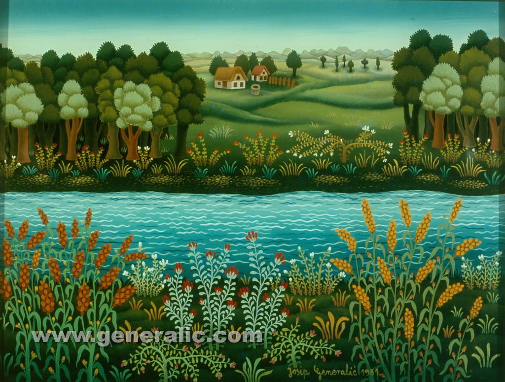 Josip Generalic, 1981, Drava river, oil on glass