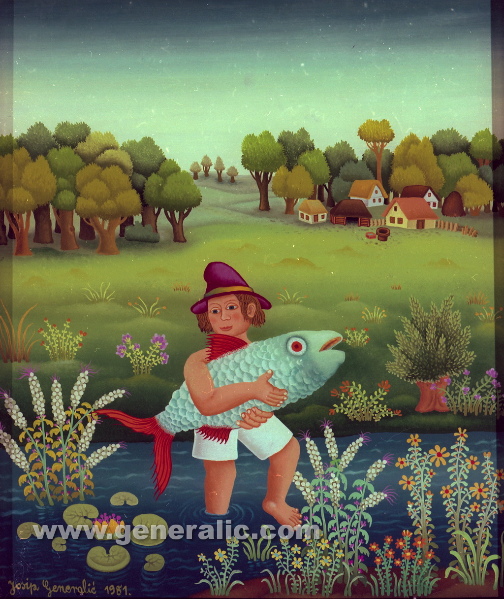 Josip Generalic, 1981, Fisherman with blue fish, oil on glass