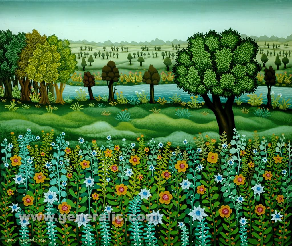 Josip Generalic, 1981, Flower field, oil on glass