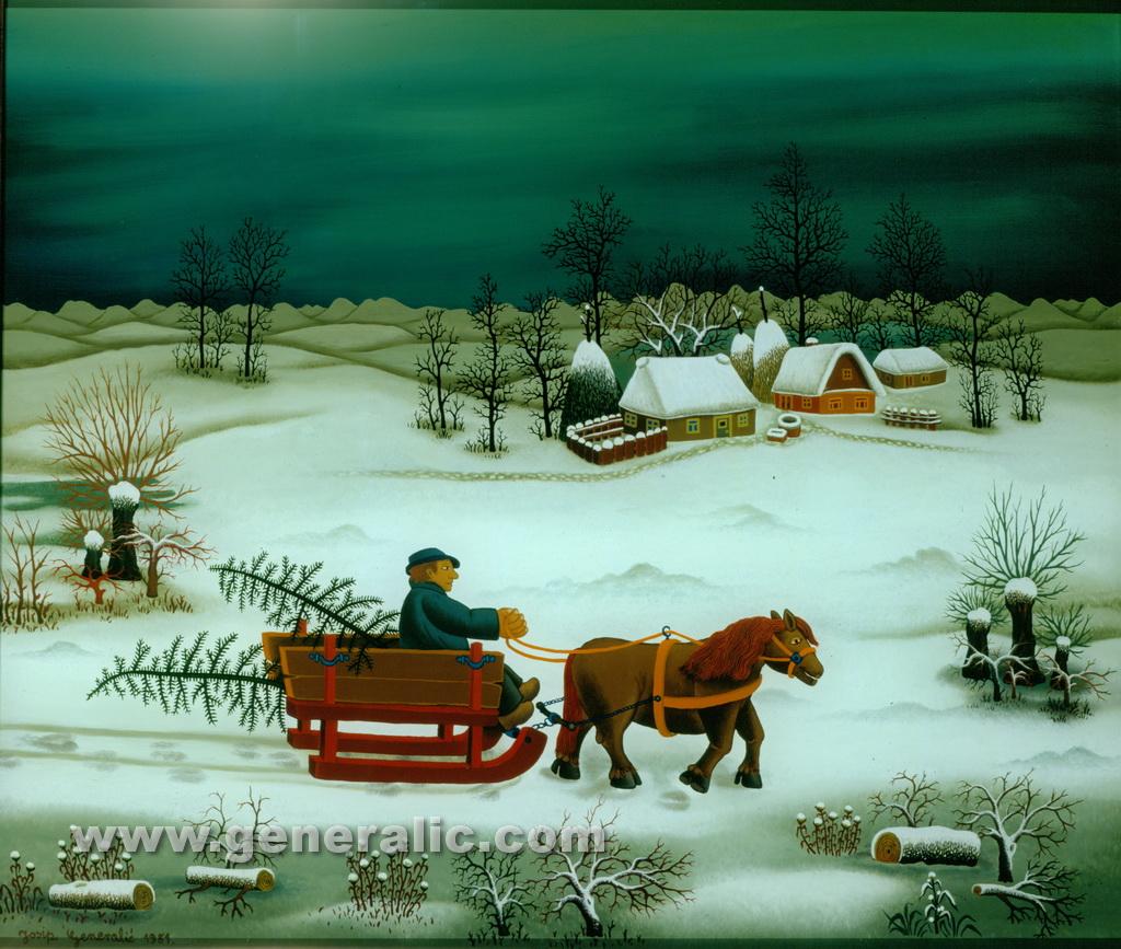 Josip Generalic, 1981, Tree for Christmas, oil on glass, 54x64 cm