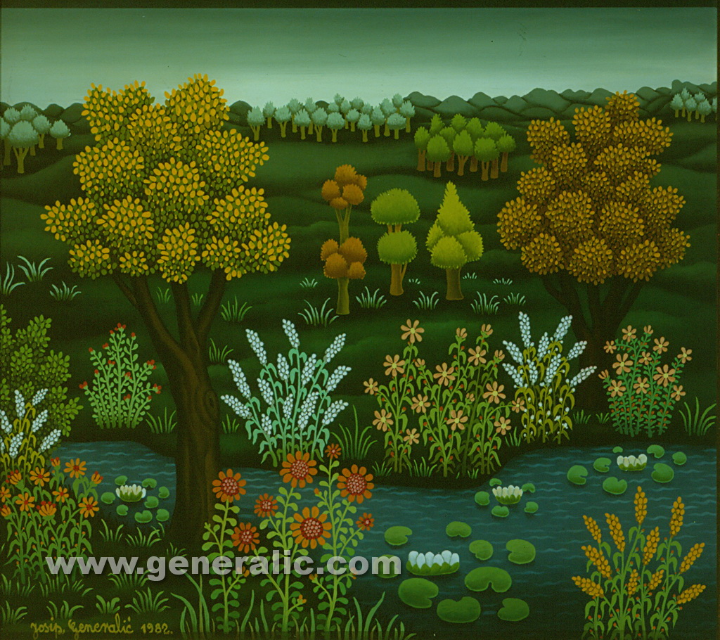 Josip Generalic, 1982, A stream, oil on glass, 37x42 cm