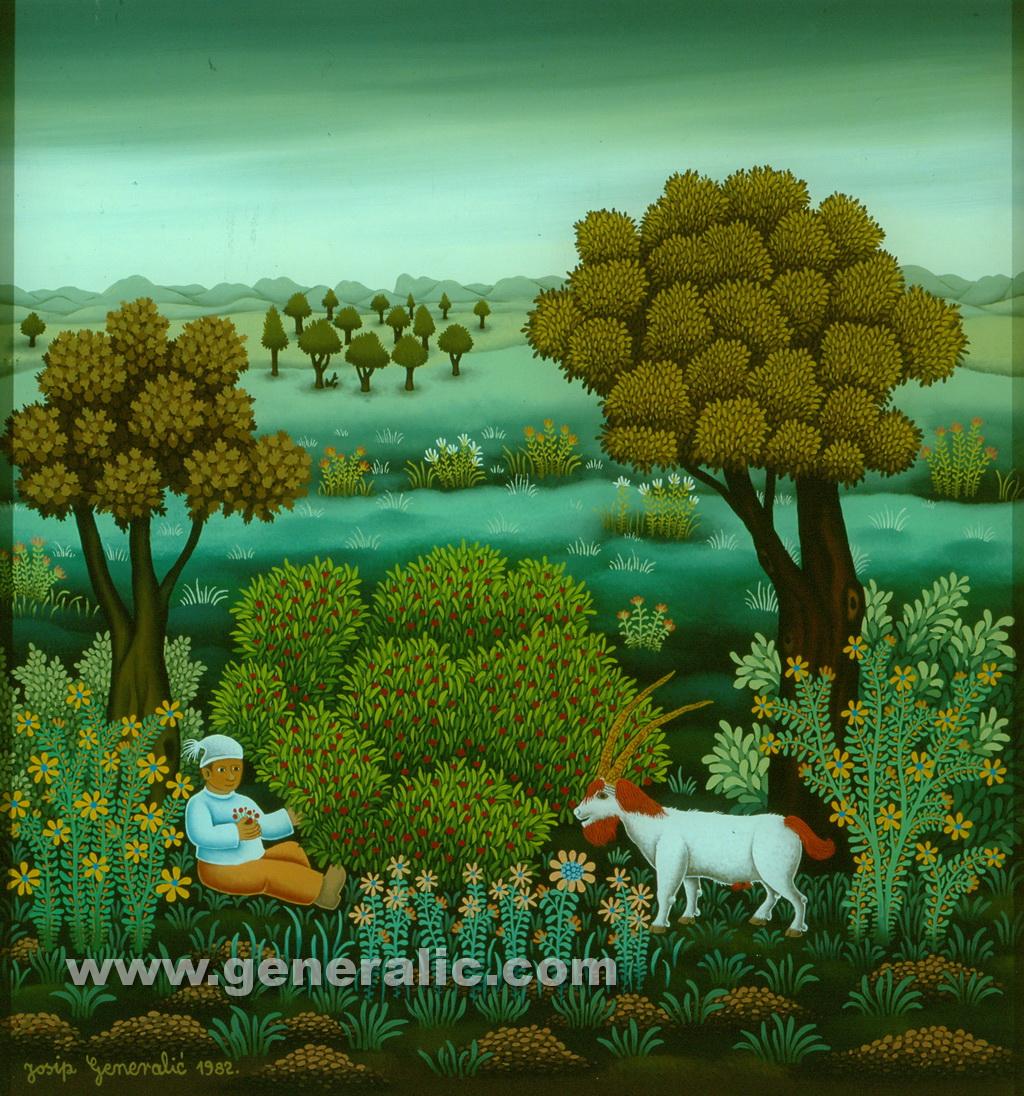 Josip Generalic, 1982, Boy and ibex, oil on glass, 55x50 cm