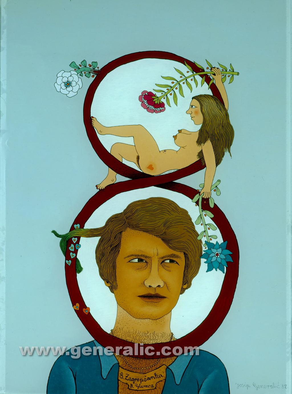 Josip Generalic, 1982, Eighth woman from Zagreb, oil on glass