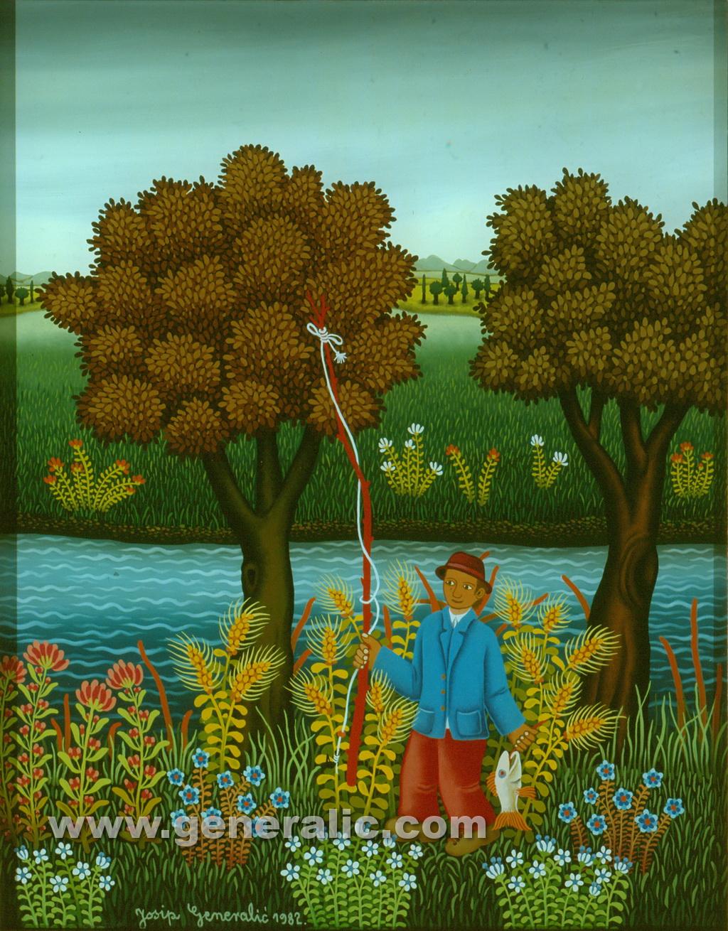 Josip Generalic, 1982, Fisherman, oil on glass, 45x35 cm