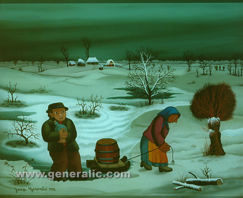 Josip Generalic, 1982, Return from vineyard, oil on glass, 40x50 cm