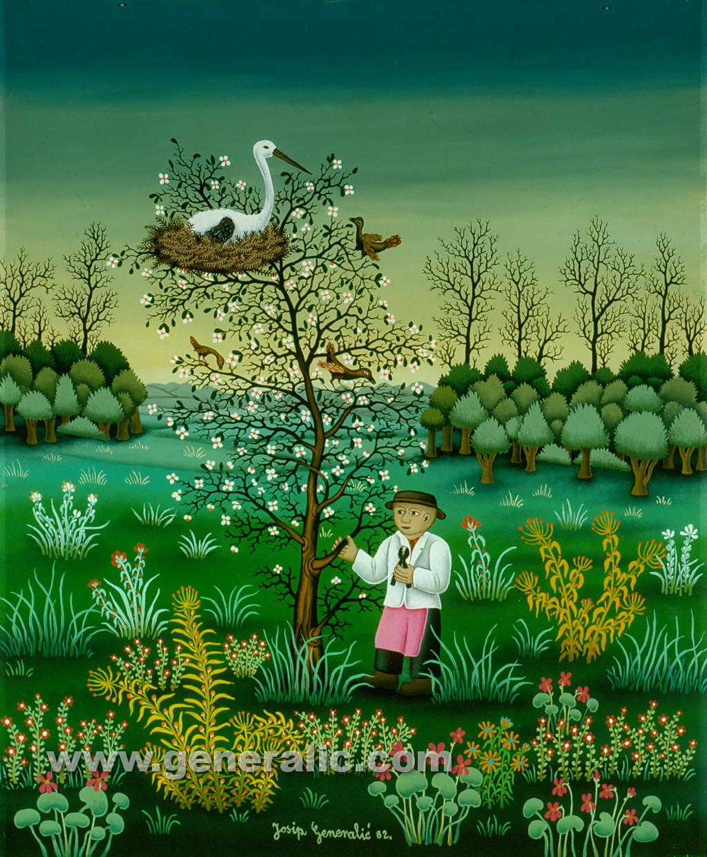 Josip Generalic, 1982, Stork on a tree, oil on glass, 55x45 cm
