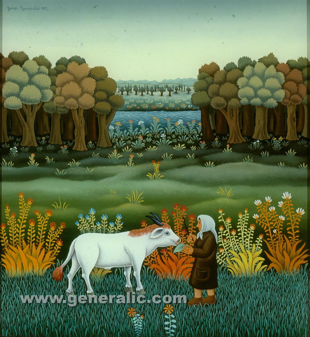 Josip Generalic, 1982, Woman feeding cow, oil on glass, 55x50 cm