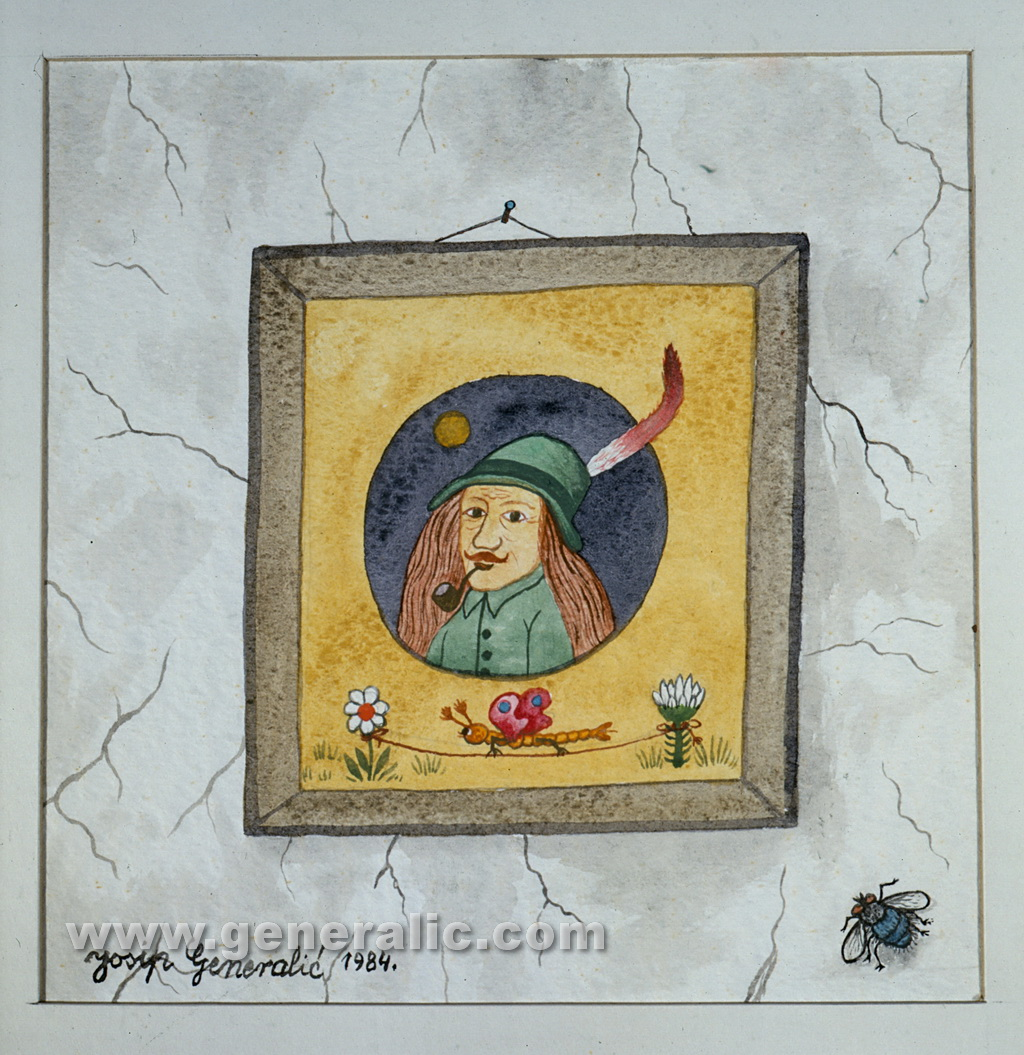 Josip Generalic, 1984, A portrait, watercolour