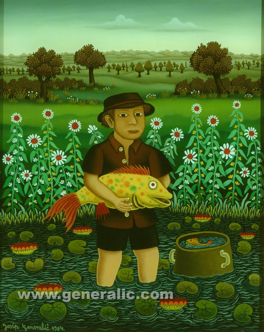 Josip Generalic, 1984, Fisherman with yellow fish, oil on glass